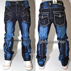 Button down back pockets, with Peviani logos and excellent zip pocket design. All our Peviani jeans are authentic. True Jeans, True Religion Jeans, Denim Jeans Men, Jeans Fit, Jeans Pocket, Jeans Button, Vetement Hip Hop, Blue Fashion, Mens Fashion