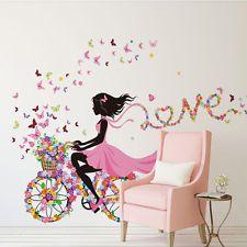 Girl & Flower Wall Art Sticker Vinyl Decal DIY Room Home...