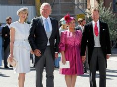 The bride's parents Gabriele Lademacher, left, and Hartmut Lademacher and the parents of the groom, Grand Duke Henri, right, and Grand Duchess Maria-Teresa..