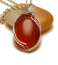 Carnelian Pendant Wire Wrapped Semiprecious by TheTempestStone, $49.00