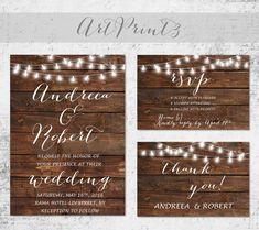 Rustic Wedding Invitation Printable Barn Wood Wedding by ArtPrint3