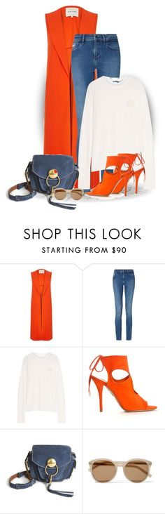 """Colour Series 7/12: Orange (OUTFIT ONLY!)"" by bliznec ❤ liked on Polyvore featuring River Island, Calvin Klein, The Elder Statesman, Aquazzura, Chloé and Yves Saint Laurent"
