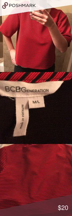 BCBGeneration cropped top BCBGeneration cropped striped top. Size M/L. Good condition. BCBGeneration Tops Crop Tops