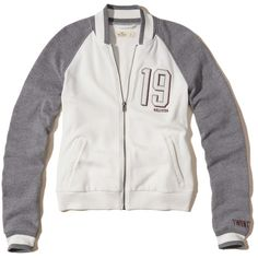 Hollister Fleece Varsity Bomber Jacket ($40) ❤ liked on Polyvore featuring outerwear, jackets, white, fleece varsity jacket, letterman jackets, flight jacket, embroidered fleece jackets and color block bomber jacket