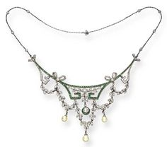 AN ATTRACTIVE BELLE EPOQUE EMERALD, DIAMOND AND PEARL NECKLACE   The front designed as a calibré-cut emerald geometric motif, enhanced by rose, single and old mine-cut diamond garland swags, with drop-shaped pearl terminals, suspended by rose, single and old mine-cut diamond bows, enhanced by a diamond collet within a calibré-cut emerald surround, joined to a diamond collet chain, mounted in gold and platinum, circa 1895, 16½ ins.