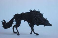 Wolf-black-wolf-wolf-figurine-wolf-statue-black-wolf-sculpture