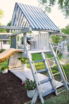 Playset Makeover Reveal - Jennifer Rizzo - Jen Rizzo - Re-Wilding Backyard Playset, Backyard Playground, Backyard For Kids, Kids Playset Outdoor, Backyard Ideas, Kids Playsets, Playset Diy, Playground Ideas, Teen Hangout