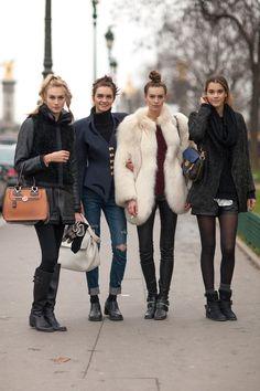 Off Duty Models | Paris Street Style via @Lisa Phillips-Barton Harper's Bazaar #parishautecouture #streetstyle