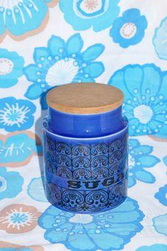 vintage 60s 70s Hornsea Pottery blue sugar by DorisandWilfs, $20.00