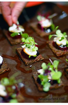 Goat cheese + baby beet canape with balsamic glaze + micro herbs