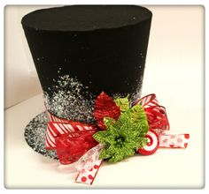 Items similar to 9 inch Candy cane top hat, Christmas tree topper, Christmas table decoration on Etsy