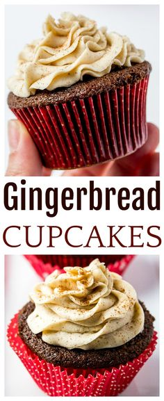 Gingerbread Cupcakes with Cinnamon Vanilla Buttercream Frosting - an easy recipe to bring the best nostalgic, classic taste to the dessert table this Christmas holiday season! Made with molasses and spices, these cupcakes are sure to delight! Cupcake Recipes, Cookie Recipes, Cupcake Cakes, Dessert Recipes, Cupcake Ideas, Keto Cupcakes, Mini Cupcakes, Keto Recipes, Holiday Baking