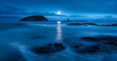 Puffin Island by full moon by Chris Newham, via 500px