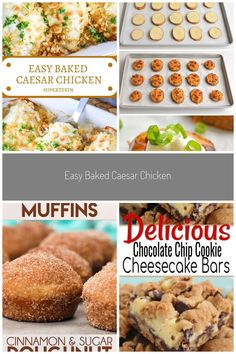EASY BAKED CAESAR CHICKEN This Caesar Chicken is perfectly creamy and packed with the delicious flav... - #baked #caesar #chicken #creamy #perfectly - #PerfectCheesecakeRecipe Perfect Cheesecake Recipe, Cheesecake Recipes, Chocolate Chip Cookie Cheesecake, Chocolate Chip Cookies, Homemade Muffins, Cinnamon Sugar Donuts, Easy Baked Chicken, Chip Cookie Recipe, Breakfast Dessert