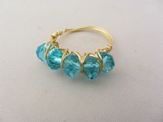 Wire ring, integrated blue crystals