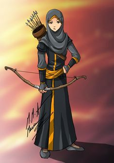 inspired form another artwork muslimah archer :D Muslim Girls, Muslim Couples, Muslim Women, Hijabi Girl, Girl Hijab, Girl Cartoon, Cartoon Art, Tmblr Girl, Archery Girl