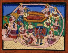 Hanuman kneeling with tail encircling Rama and Sita in bed, while several monkeys circle around Ravana. Gouache drawing.   Wellcome Collection