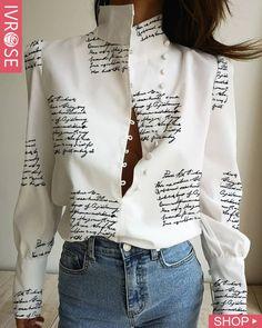 Stand Neck Letter Print Buttoned Shirt – chiclinen blouses shirts style v neck t shirts white v neck blouse ruffled trimmed short sleeve v neck blouse Trend Fashion, Look Fashion, Fashion Outfits, Womens Fashion, Emo Outfits, Lolita Fashion, Ladies Fashion, Fashion Shirts, Fashion Styles
