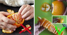 Du schälst eine Mandarine mit den Fingern.