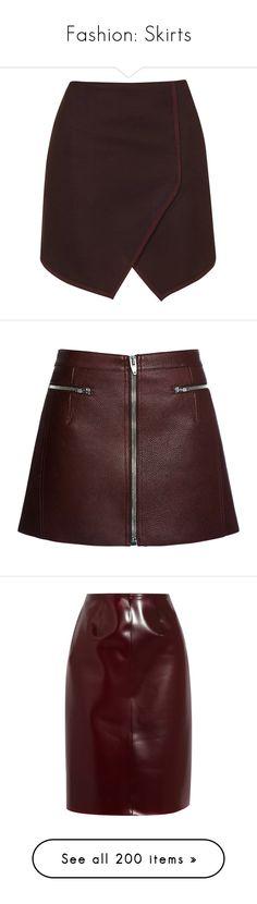 """Fashion: Skirts"" by katiasitems on Polyvore featuring skirts, mini skirts, bottoms, topshop, saias, skorts, burgundy, short wrap skirt, high waisted short skirts and wrap skort"