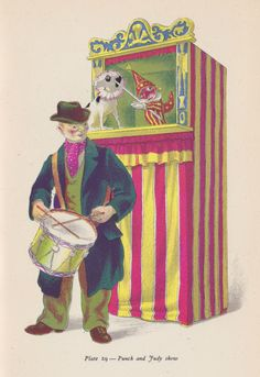 Punch and Judy. Plate from Popular English Art by Noel Carrington with illustrations by Clarke Hutton (King Penguin, 1945)
