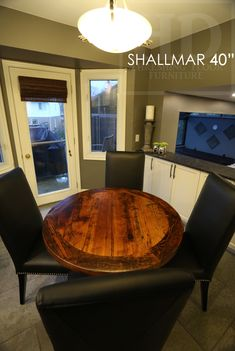 Reclaimed Wood Round Pedestal Table by HD Threshing Floor Furniture of Cambridge, Ontario / www.hdthreshing.com  Email directly at rw@table.ca