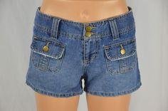 SO Womens 3 Blue Jean Denim Shorts Medium Wash Distressed Button Pockets #SO #CasualShorts