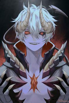 Anime Demon Boy, Evil Anime, Dark Anime Guys, Cool Anime Guys, Anime Warrior, Anime Boys, Anime Fantasy, Dark Fantasy Art, Fantasy Character Design