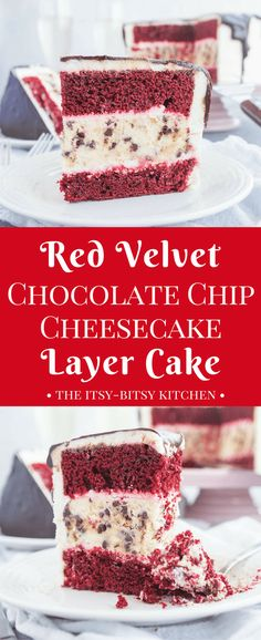 This red velvet chocolate chip cheesecake layer cake features two layers of fluffy red velvet cake, one layer of creamy chocolate chip cheesecake, and a whole lot of cream cheese frosting. It's a delicious end to any holiday meal! recipe via itsybitsykitchen.com #valentinesday #layercake #cheesecakecake