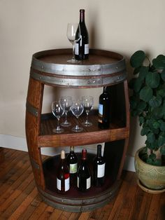 great pics: Love this wine barrel table- could creat this as a side table