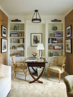 I love the double bookcases in this home office. Art Deco Office and Study in New York, NY by Cullman & Kravis Inc.
