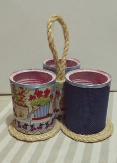 Tin Can Crafts, Crafts For Kids, Paper Crafts, Diy Crafts, Painted Trash Cans, Sisal, Desk Organization Diy, General Crafts, Recycling