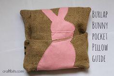 Burlap Bunny Pocket Pillow