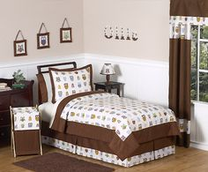 Brown Owl Bedding 4pc Twin Comforter Set Kids Bed in a Bag