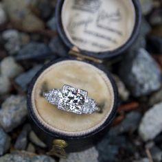 Art Deco Engagement Ring 1.2 Carat Old Euro Diamond Platinum