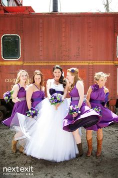 I love the bridemaids dress on the right side and I love the purple for the wedding dress to!