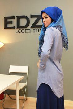 Curved Hem Long Shirt by EDZ.com.my Hijabs, Modest Fashion, Shirts, Collection, Hijab Styles, Dress Shirts, Dress Shirt, Hijab Dress, Top