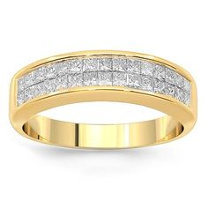 This elegant womens diamond wedding band is crafted in 14K yellow gold. Princess cut diamonds are placed half way around the band and total to 1.50 carats. The frame measures to 1/4 inches in width and weighs approximately 5.5 grams. $1,690.00