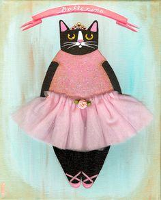 Kitty Ballerina Original Cat Folk Art Painting by KilkennycatArt