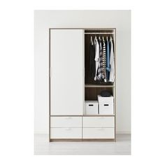 IKEA TRYSIL wardrobe w sliding drawers Smooth running drawers with pull-out stop. Ikea Wardrobe Closet, Ikea Wardrobe Storage, White Wardrobe, Wardrobe Design Bedroom, Built In Wardrobe, Closet Bedroom, Ikea Trysil, Free Standing Wardrobe, Armoire Ikea