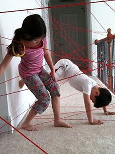 Lazer Beam Obstacle course! Great idea for babysitting the 4 boys I look after