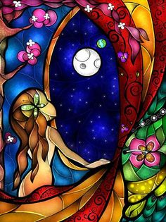 Stained Glass Princesses window