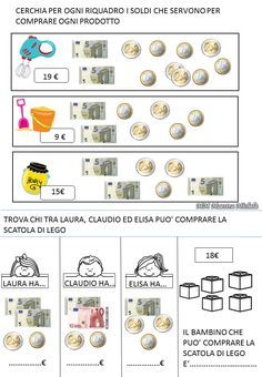 Euro: online and pdf worksheet Fun Math, Activities For Kids, Euro, Money Worksheets, Education World, Kindergarten Lessons, Math Numbers, School Subjects, Teaching French
