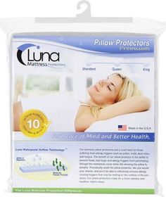 Amazon.com - Luna Premium Hypoallergenic Bed Bug Proof Zippered Waterproof Pillow Protector (1) Queen Size - Made In The USA
