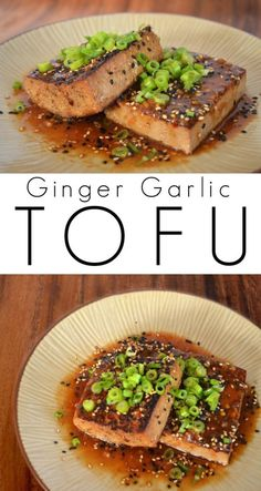 Easy Marinated Ginger Garlic Tofu - Great for topping rice, noodles, or salads!