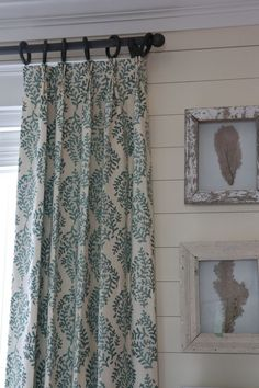 "Galbraith and Paul curtain fabric In ""Ocean"" Width: Repeat: x 17 curtain rod from home depot that was white and spray painted with bronze color. Hall Curtains, Linen Curtains, Curtain Fabric, Drapery, Valance, Window Coverings, Window Treatments, Neutral Paint Colors, Gray Paint"