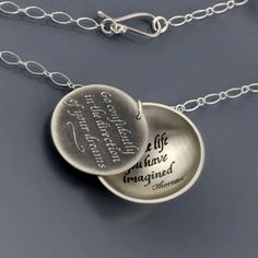 """Such a beautiful necklace, with a lovely Thoreau quote.  Necklace by @Lisa Hopkins Design ...  """"Go confidently in the direction of your dreams - live the life you have imagined."""""""