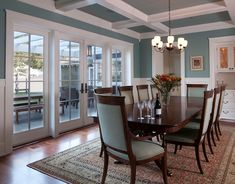 Marvin Windows and Doors offers endless customization options and design flexibility with energy-efficient windows, patio doors and sliding doors. Dining Room Blue, Dining Room Design, Dining Rooms, Kitchen Dining, Dining Hutch, Dining Set, Craftsman Dining Room, Favorite Paint Colors, Sliding Patio Doors