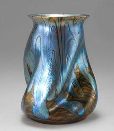 """Johann Lötz Witwe, Klostermühle, Iridescent Glass Vase. Decor: """"Phänomen Gre"""""""