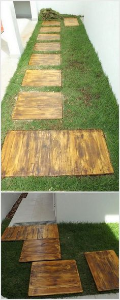 You can beautifully arrange your garden areas with the creative placement of the wood pallet planks in square shapes over the floor area. This will bring your garden much tidy looking. Besides keeping the planks simple and plain, you can awesomely make it adorn with the colorful flower planters as well.